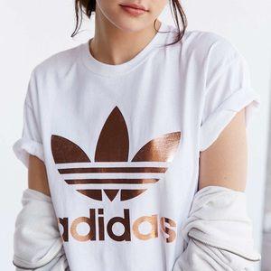 Adidas rose gold metallic logo t shirt